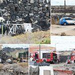 Bomberos de Tenerife extinguen incendio que afectó a dos caravanas en Armeñime