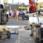 Accidente aparatoso sin heridos graves en la rotonda del Lidl de Puerto Santiago