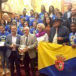 El Cabildo grancanario agasaja a las jugadoras del Rocasa, campeonas de la Copa de la Reina
