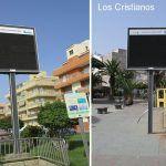 Cuando más se necesitan las pantallas informativas de las playas de Arona no funcionan