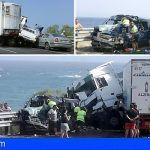 Aparatoso accidente en la TF-1 a la altura de Güimar deja un muerto y dos heridos