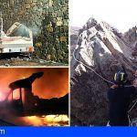 Extinguen un incendio en una autocaravana en Tacoronte y rescatan dos podencos en Arico