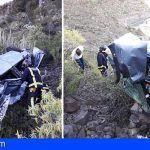 Dos heridos graves tras la salida de vía y precipitación de un vehículo en Los Campitos, Santa Cruz