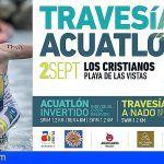 La travesía a nado y el acuatlón invertido de Los Cristianos se celebrarán en la playa de Las Vistas