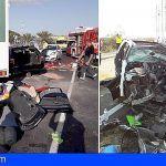 Una mujer fallecida y dos heridos leves en una colisión coche-camión en San Miguel