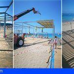 La nueva gran área de sombra de la playa de Las Vistas avanza y quedará lista en los próximos días