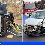 Dos heridos en el vuelco de un turismo en Arico