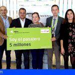 El Aeropuerto de Tenerife Norte celebra la llegada del pasajero 5 millones este año