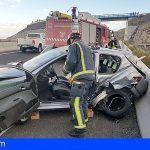 Adeje | Un conductor en en estado crítico tras un accidente de tráfico en la TF-1 Los Menores