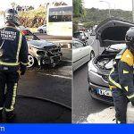 Los Bomberos intervienen en un incendio de vehículo y accidente de tráfico en Icod de los Vinos