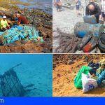 Asociaciones y colectivos de voluntarios retiran en Arico 1000 kg de basura del fondo y la costa del Porís