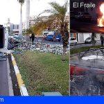 Tres incidentes de vehículos en Arona y una mujer herida en Santiago del Teide
