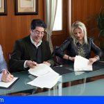 El Cabildo firma un convenio con El Tanque y Los Silos para el uso del depósito de aguas de Erjos