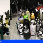Hallan en un centro de buceo en La Palma 73 botellas, no aptas, de aire comprimido