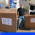Santa Cruz recibe una donación de medio millar de pantallas faciales procedentes del ITC