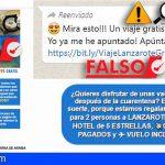 ODIC alerta de la falsa promoción por whatsapp de viajes gratis a Lanzarote