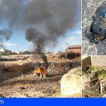 Arona tomará medidas en solar de El Fraile repleto de basura, tras el incendio provocado hoy