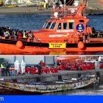 Remolcan hasta Los Cristianos una patera con 122 personas a bordo