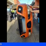 Un conductor de 68 años herido de carácter moderado, tras volcar en La Laguna