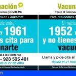 Los residentes en Lanzarote y Fuerteventura nacidos entre 1952 y 1961 que no están vacunados pueden pedir cita telefónicamente
