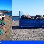Retiran cerca de 5.000 kilos de residuos del litoral de Las Horcas, Granadilla