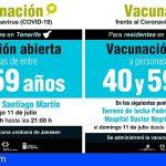 Tenerife y Gran Canaria acogen una jornada de vacunación sin cita para personas de entre 40 y 59 años