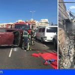 Bomberos rescatan a un conductor tras volcar en Las Galletas y extinguen un incendio en una casa en El Fraile