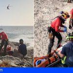 Rescatan a una mujer que sufrió una caída en playa Diego Hernandez en Adeje