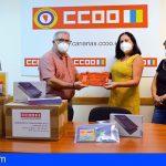 Llegan a La Palma los 200 lotes de material escolar y las 90 tablets donadas por CCOO
