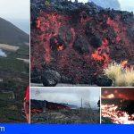La colada de lava avanza imparable por el camino de La Vinagrera
